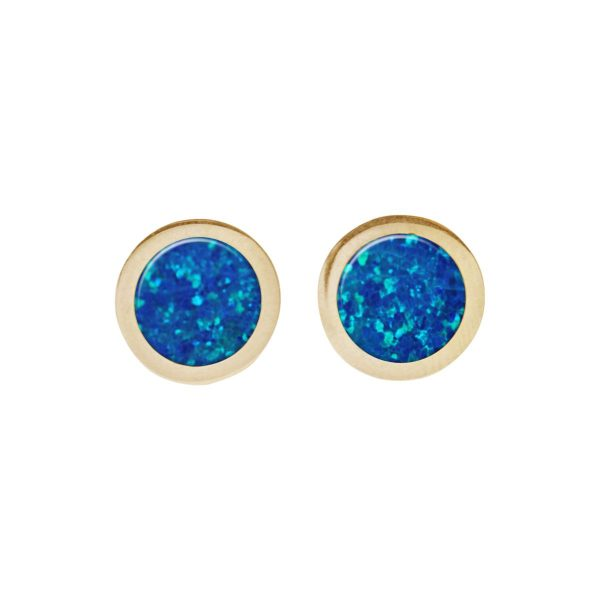 Gold Cobalt Blue Opalite Round Stud Earrings