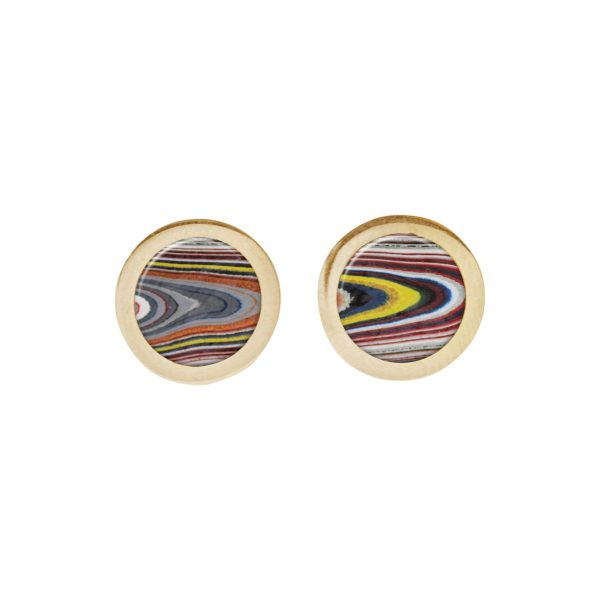 Gold Fordite Round Stud Earrings