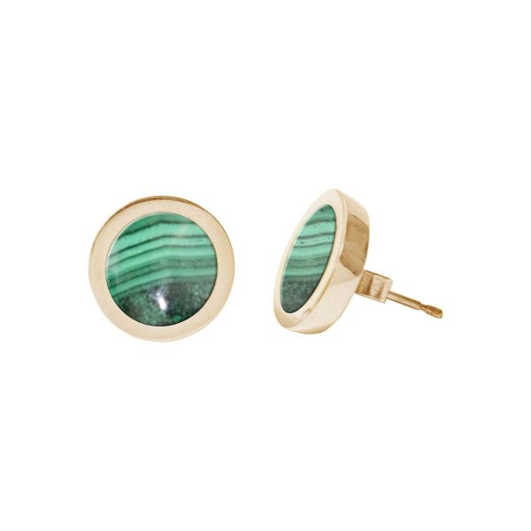 Gold Malachite Round Stud Earrings