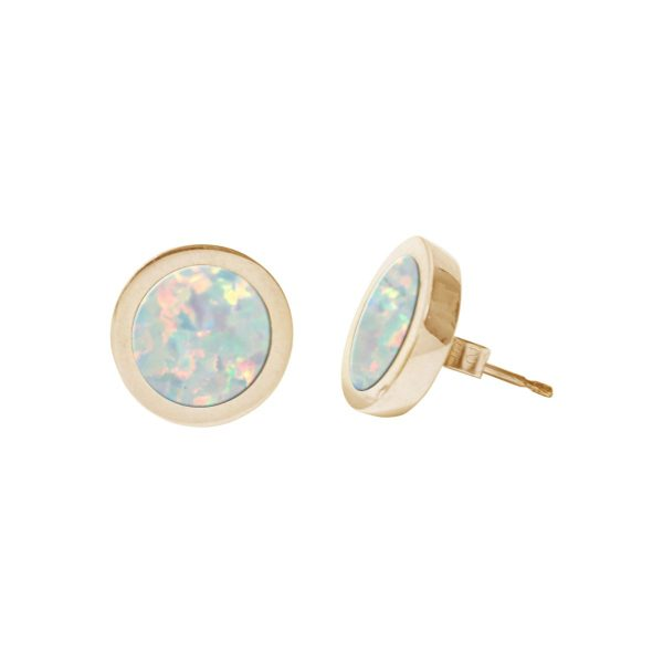 Gold Opalite Sun Ice Round Stud Earrings