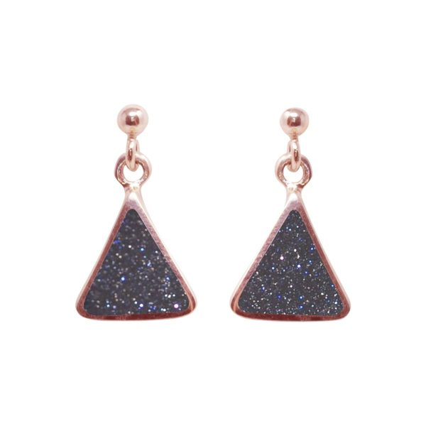 Rose Gold Blue Goldstone Drop Earrings