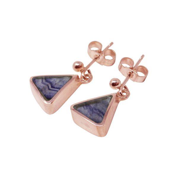 Rose Gold Blue John Drop Earrings