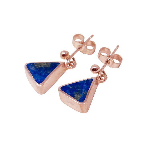 Rose Gold Lapis Drop Earrings