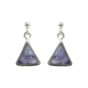Silver Blue John Triangular Drop Earrings