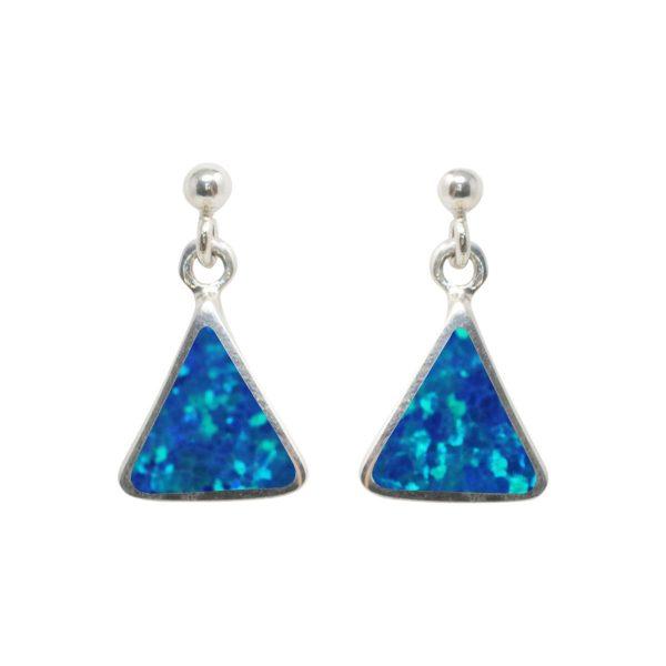 Silver Cobalt Blue Opalite Drop Earrings