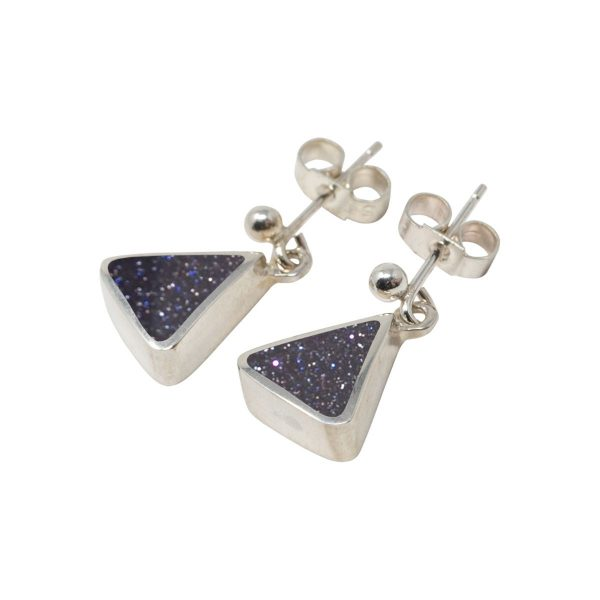 White Gold Blue Goldstone Triangular Drop Earrings