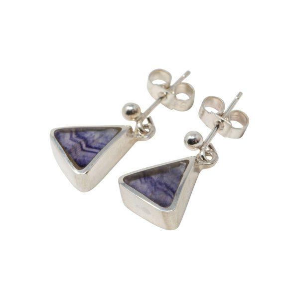 White Gold Blue John Triangular Drop Earrings