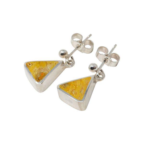 White Gold Bumblebee Jasper Triangular Drop Earrings