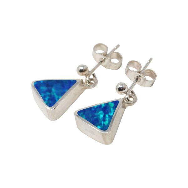 White Gold Opalite Cobalt Blue Triangular Drop Earrings