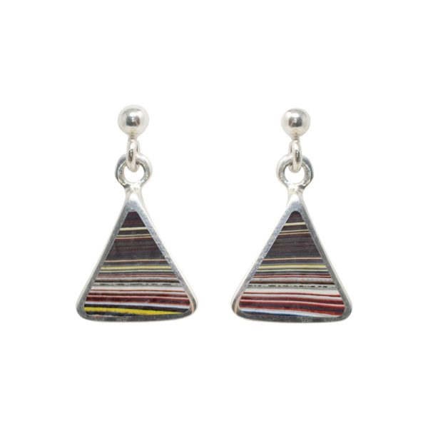 White Gold Fordite Triangular Drop Earrings