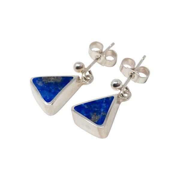 White Gold Lapis Triangular Drop Earrings