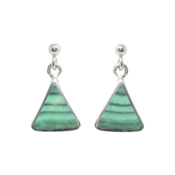 White Gold Malachite Triangular Drop Earrings