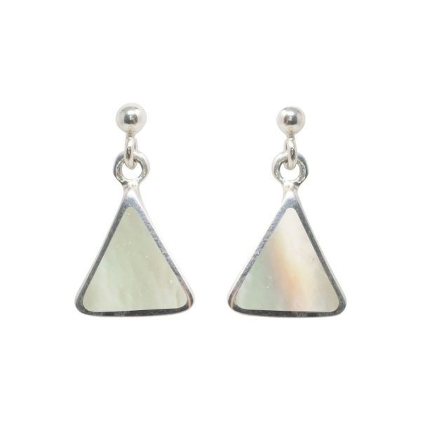 White Gold Mother Of Pearl Triangular Drop Earrings