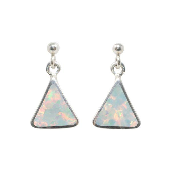 White Gold Opalite Sun Ice Triangular Drop Earrings
