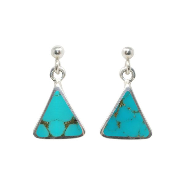White Gold Turquoise Triangular Drop Earrings