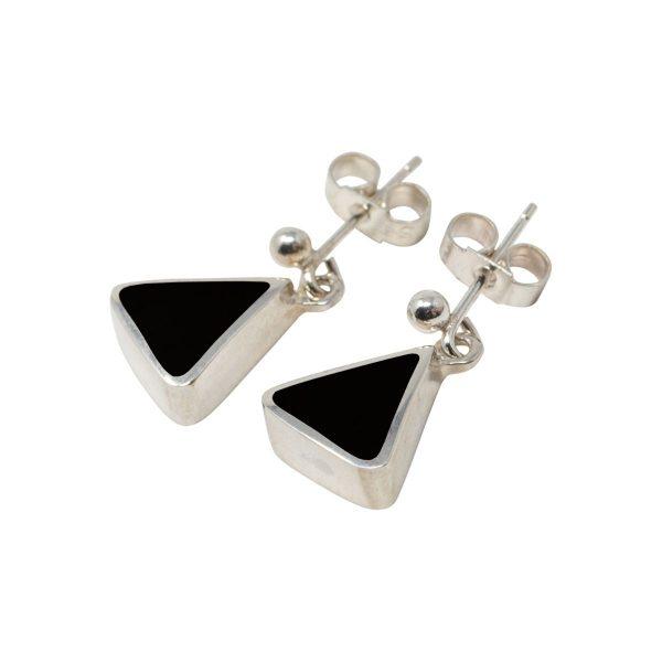 White Gold Whitby Jet Triangular Drop Earrings