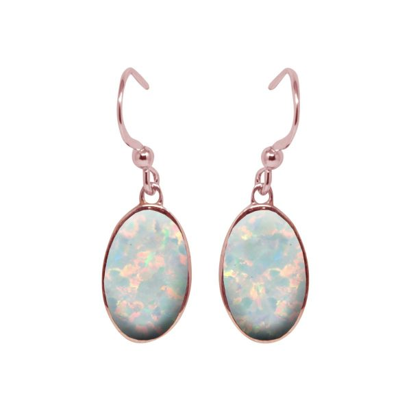 Rose Gold Opalite Sun Ice Oval Drop Earrings