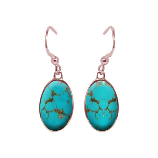 Rose Gold Turquoise Oval Drop Earrings