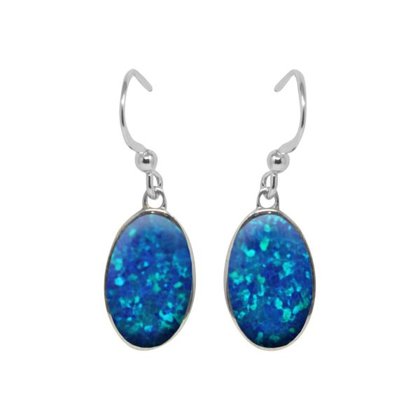 Silver Cobalt Blue Oval Drop Earrings