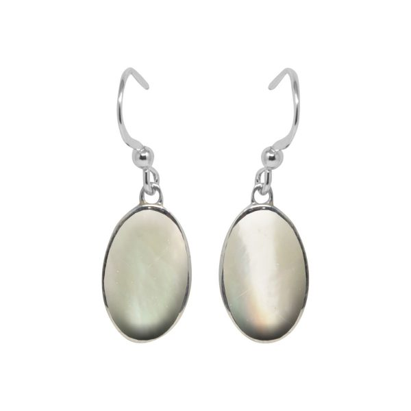 Silver Mother of Pearl Oval Drop Earrings