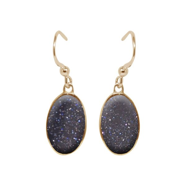 Yellow Gold Blue Goldstone Oval Drop Earrings