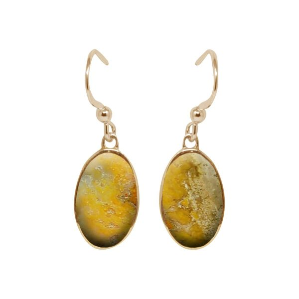 Yellow Gold Bumblebee Jasper Oval Drop Earrings