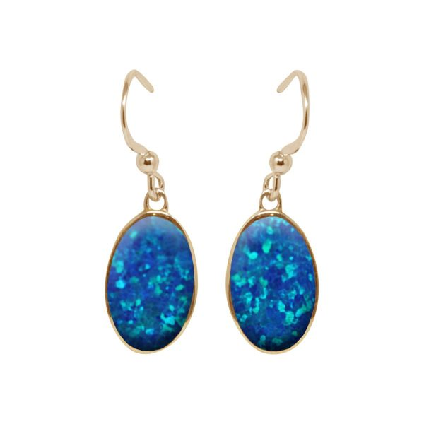 Yellow Gold Cobalt Blue Opalite Oval Drop Earrings