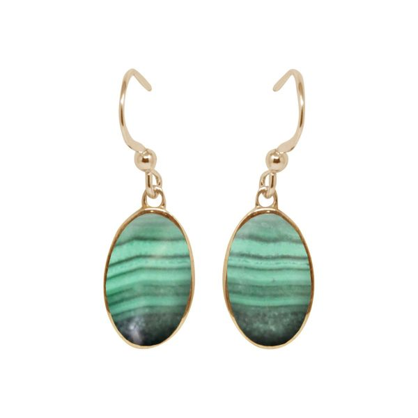 Yellow Gold Malachite Oval Drop Earrings