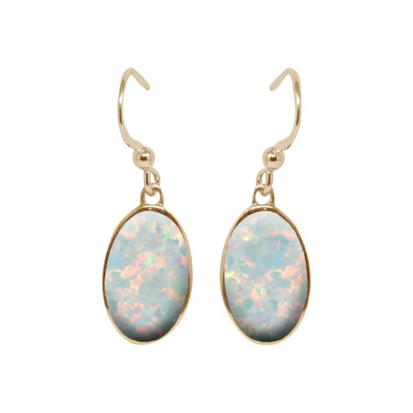 Yellow Gold Opalite Sun Ice Oval Drop Earrings