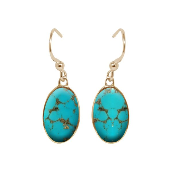 Yellow Gold Turquoise Oval Drop Earrings