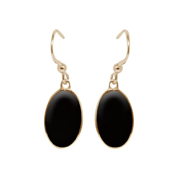 Yellow Gold Whitby Jet Oval Drop Earrings