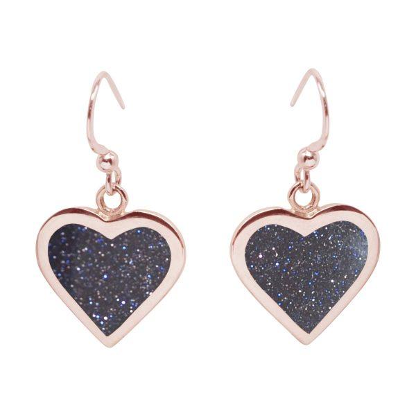 Rose Gold Blue Goldstone Heart Drop Earrings