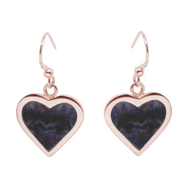Rose Gold Blue John Heart Drop Earrings