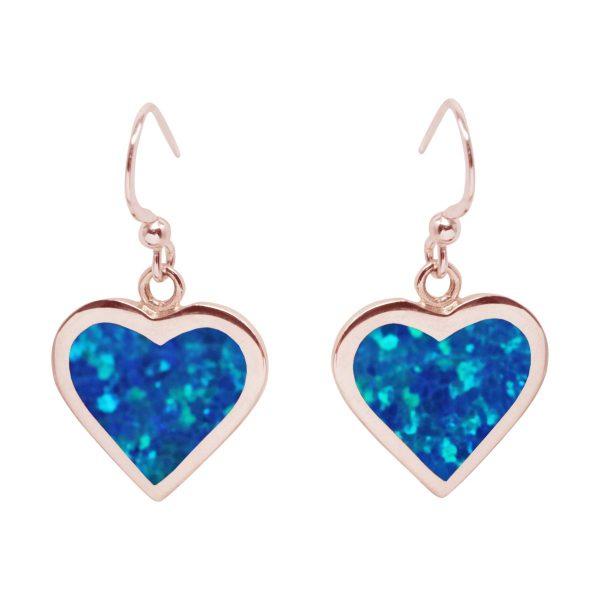 Rose Gold Cobalt Blue Opalite Heart Drop Earrings