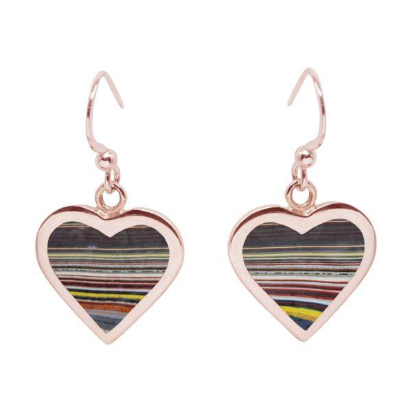 Rose Gold Fordite Heart Drop Earrings