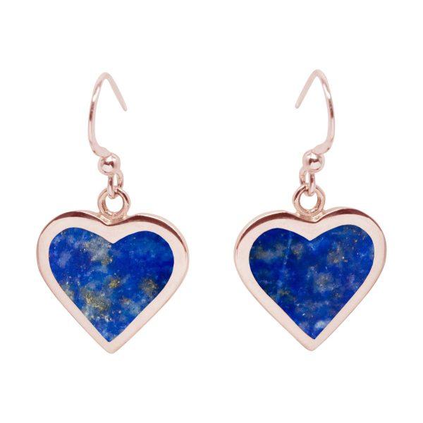 Rose Gold Lapis Heart Drop Earrings