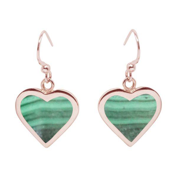 Rose Gold Malachite Heart Drop Earrings