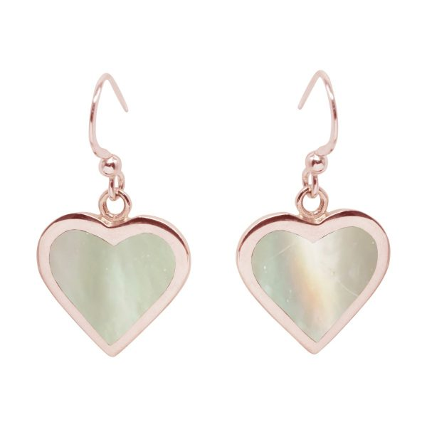 Rose Gold Mother of Pearl Heart Drop Earrings