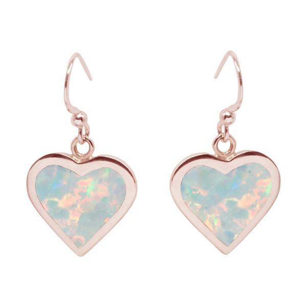 Rose Gold Opalite Heart Drop Earrings