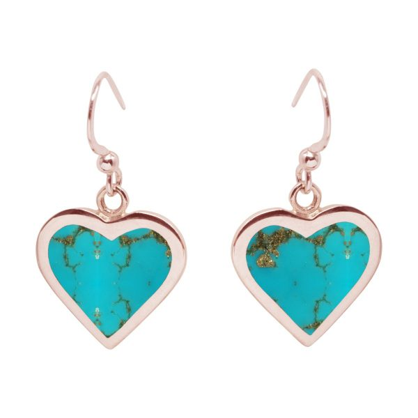 Rose Gold Turquoise Heart Drop Earrings