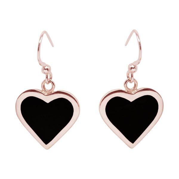 Rose Gold Whitby Jet Heart Drop Earrings