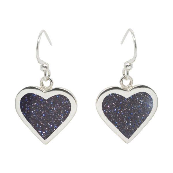 Silver Blue Goldstone Heart Drop Earrings