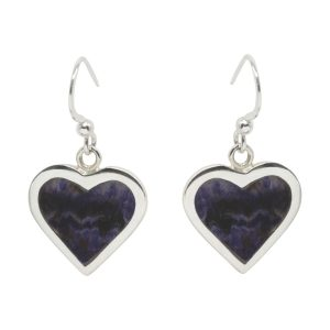 Silver Blue John Heart Shaped Drop Earrings