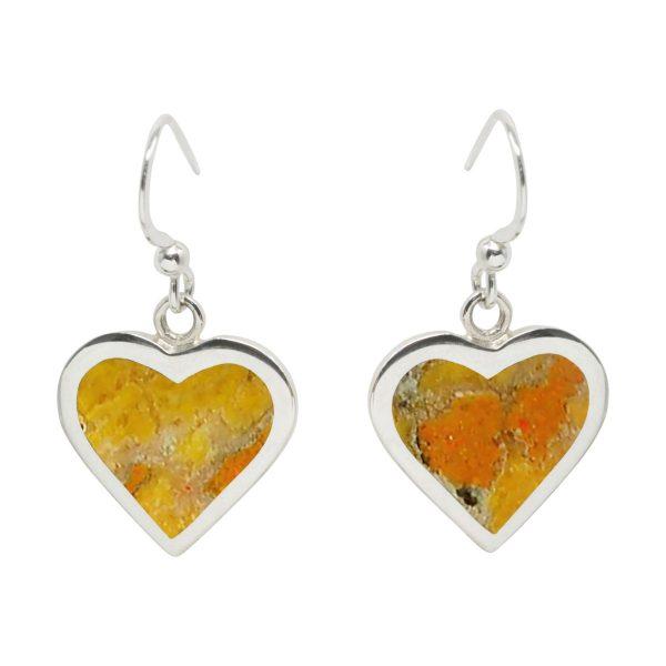 Silver Bumblebee Jasper Heart Drop Earrings