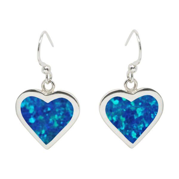 Silver Cobalt Blue Heart Drop Earrings