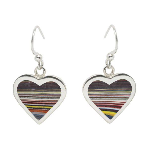 Silver Fordite Heart Drop Earrings