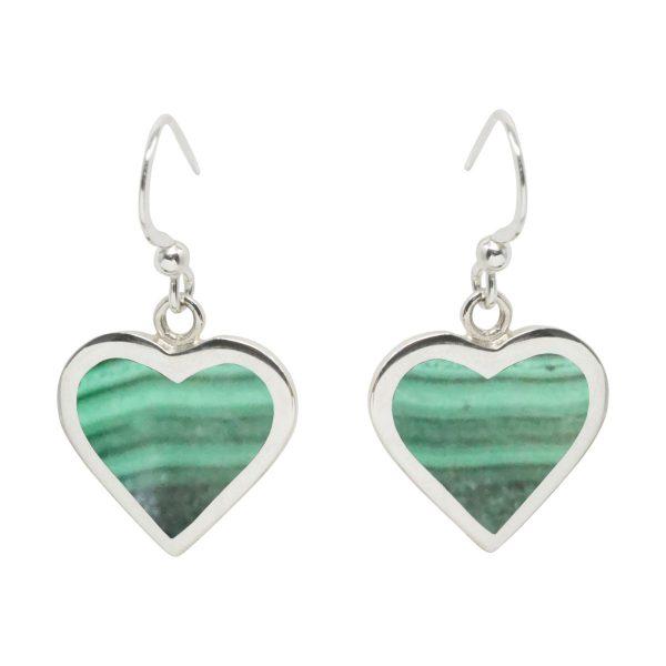 Silver Malachite Heart Drop Earrings
