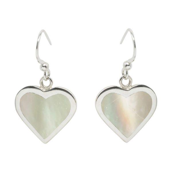 Silver Mother of Pearl Heart Drop Earrings