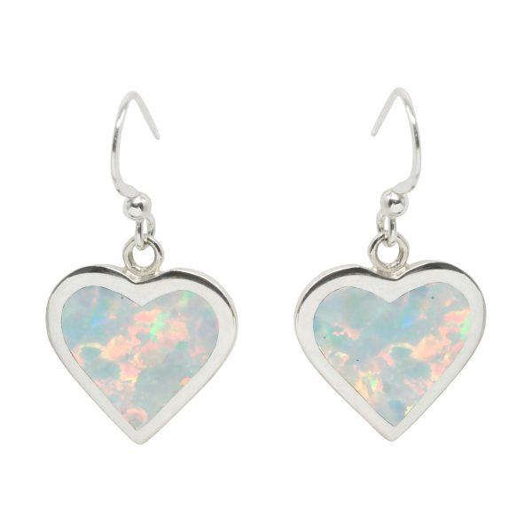 Silver Opalite Heart Drop Earrings