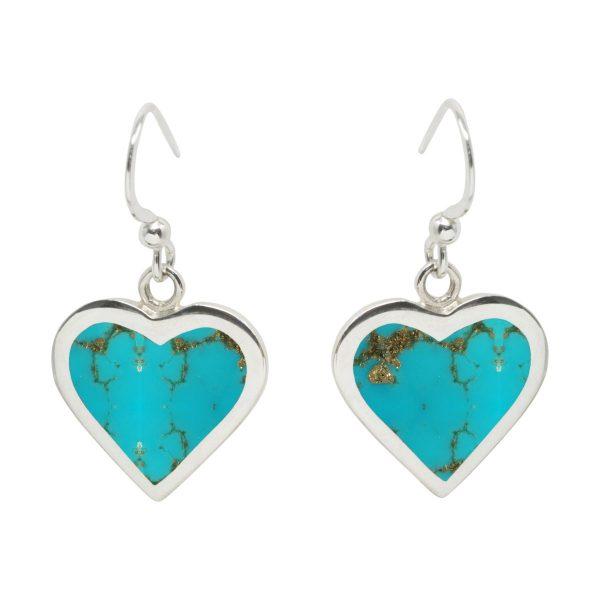 Silver Turquoise Heart Drop Earrings